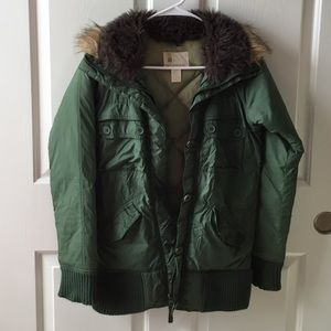 Urban Outfitters Faux Fur Collar Puffer Jacket